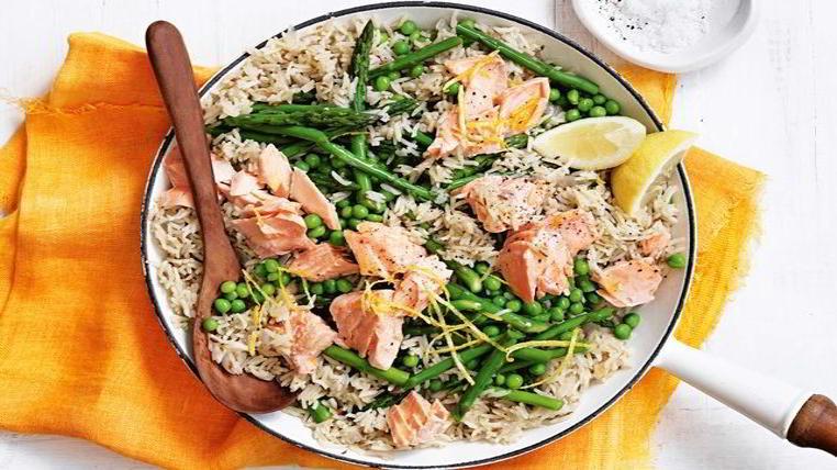 pilaf con salmon