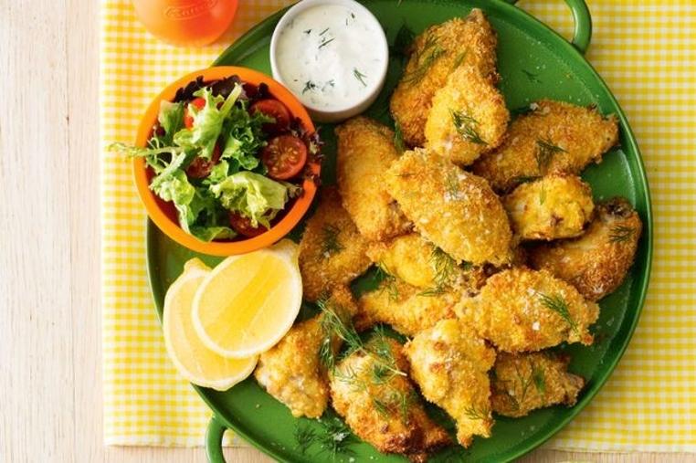La receta de pollo Schnitzel es muy rica para la cena.