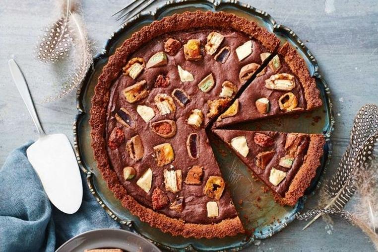 La receta tarta de brownie con chocolate es fácil de hacer.