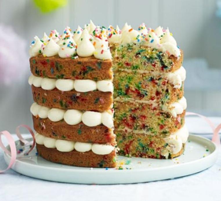 Prepara fácil la torta de cumpleaños colorida.