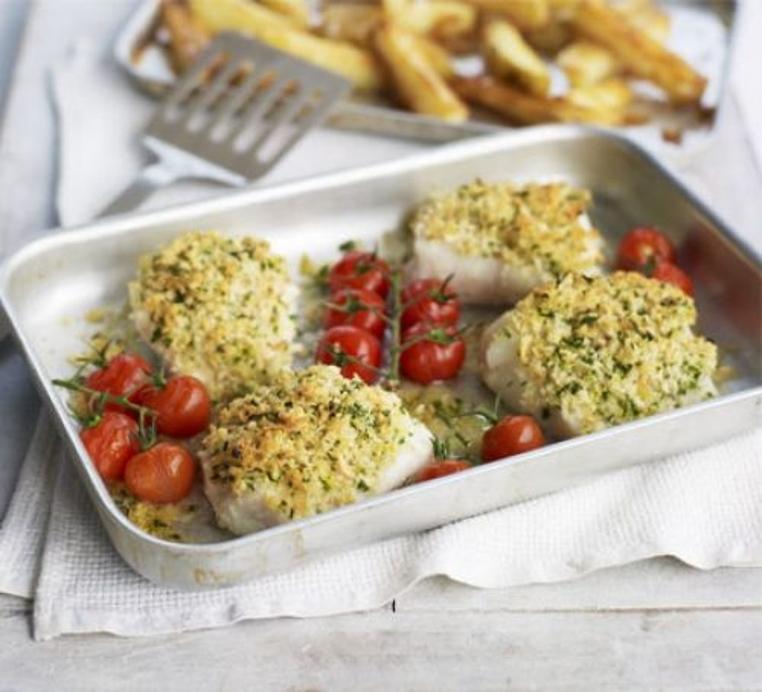 pescado al horno con patatas y tomate