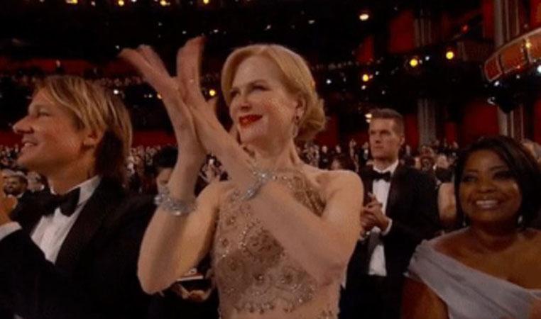 Nicole Kidman y su manera extraña de aplaudir en la entrega de los premios Oscar 2017