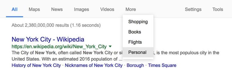 La pestaña Personal apareció en el buscador de Google para tener colecciones personales.